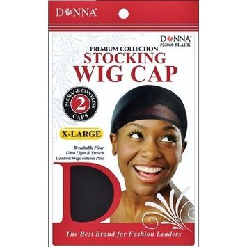 Stocking Wig Cap X-Large - 6 Piece, Extra large, breathable fiber, stretchy, stretchable, ultra light, lightweight, by Donna Collection