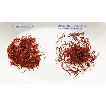 Blue Lily Organics Premium Kashmiri Saffron - USDA Organic, Non-GMO, Long Whole Threads, 0.5 gms