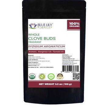 Blue Lily Organics Whole Cloves, Certified Organic, Premium Grade, 3.5 Oz Pouch