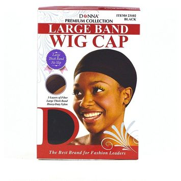 Donna Premium Collection Large Band Wig Cap Black 100 pieces 23102