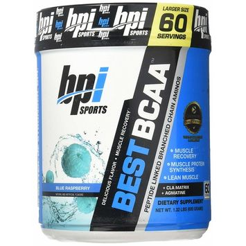 BPI Sports Best BCAA - BCAA Powder - Branched Chain Amino Acids - Muscle Recovery - Muscle Protein Synthesis - Improved Performance – Hydration – Blue Raspberry - 60 Servings - 1.32 Pound [Blue Raspberry]