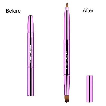 Cosmetic Brushes Lip Eye Double Sided Makeup Brush with Cap for Travel Retractable Lip Brush Eyebrow Brush Concealer Brush For Lipstick Portable Purple
