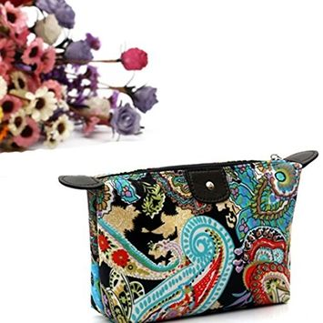 Comestic Bag, Sandistore 1PC Women Travel Make Up Cosmetic Pouch Bag Clutch Handbag Casual Purse (A, Black)
