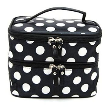 Makeup Bag, Sandistore Chic Lady's Wave Dot Case Makeup Double Cosmetic Hand Bag Tool Storage Toiletry (#2)