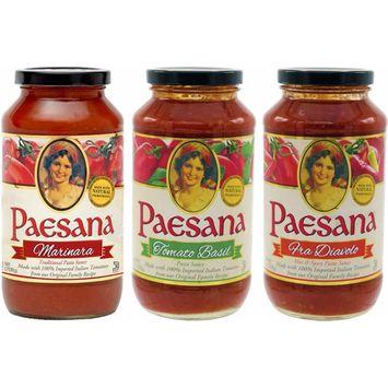 Paesana Tomato Basil, Fra Diavolo, Marinara Sauce - Variety Pack, 25oz Glass Jar (Pack of 3, Total of 75 Oz)