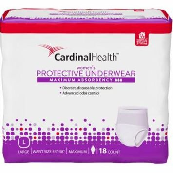 Cardinal Health Maximum Absorbency Women's Protective Underwear, Large, 18 count