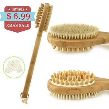 Scheam Bamboo Bath Body Brush Long Handle Shower Back Scrubber with Exfoliating Gloves Natural Bamboo Boar Bristles Double-Sided Brush Anti Cellulite Skin Brushing for Men and Women