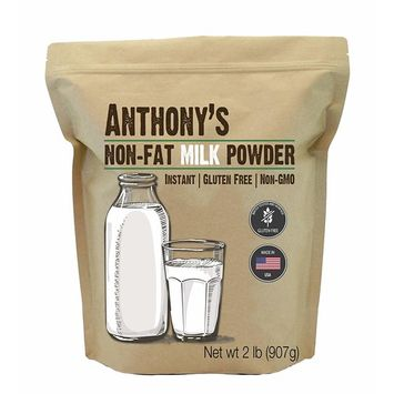 Anthony's Non-Fat Milk Powder (2lb), Instant, Gluten Free & Non-GMO