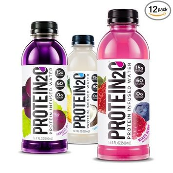 Protein2o Low Calorie Whey Protein Drink, Variety Pack, 16.9 Ounce (Pack of 12)