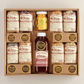 8/4 Oz Bags Amish Country Variety Popcorn Gift Set, 16 Oz Canola Oil, 4.5 Oz Butter Salt