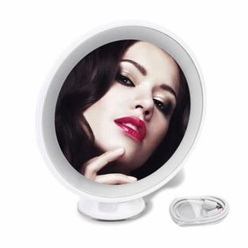 360 Degree Rotation 5X Magnification Tabletop Desk Makeup Mirror With Light