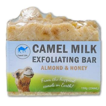 Camel Life/Camel Milk Exfoliating Bar – Almond and Honey/luxurious exfoliating bar soap designed for him and her/creamy lather and texture/Boosts cell regeneration / 150 gm soap bar