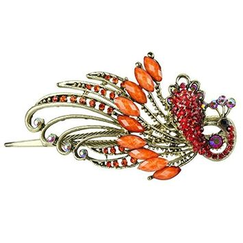 niceEshop(TM) Lovely Retro Vintage Crystal Butterfly Hair Clips Hair Pins,Orange