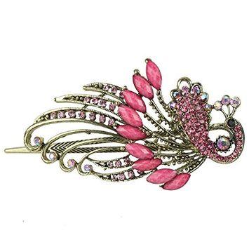 niceeshop(TM) Lovely Vintage Crystal Butterfly Hair Clip Hair Pins,Roseo