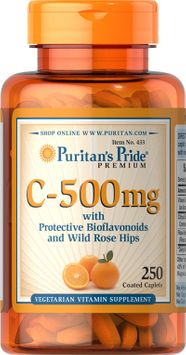 Puritan's Pride 2 Units of Vitamin C-500 mg with Bioflavonoids & Rose Hips-250-Caplets