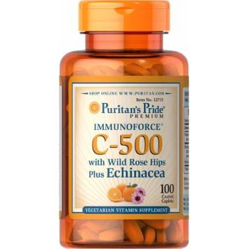 Puritan's Pride Vitamin C-500 with Rose Hips & Echinacea-100 Caplets