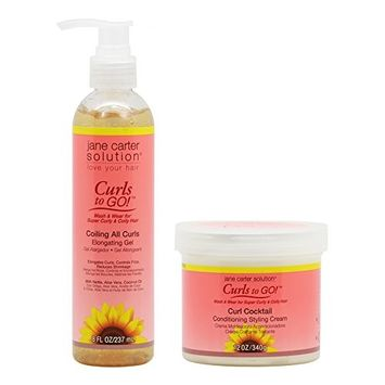 Jane Carter Curls to GO Coiling All Curls Elongating Gel 8oz & Curl Cocktail Conditioning Styling Cream 12oz