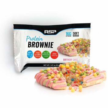 RSP Protein Brownie (12 pk) - 16g of Whey Protein & Gluten Free, Delicious On-The-Go Healthy Snack - Soft Baked Brownie & High Protein Snack, Birthday Cake