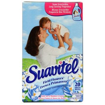 Suavitel Dryer Sheets, Field Flowers - 20 Count