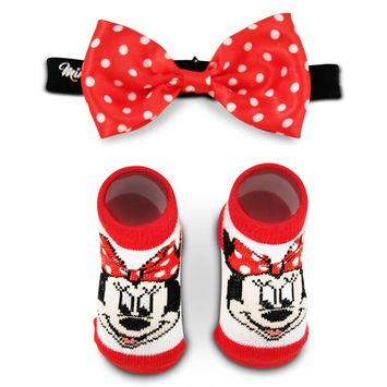 Disney Minnie Mouse Polka Dot Headwrap and Booties Gift Set, Baby Girls, Age 0-12M