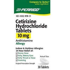 Cetirizine 10mg Hydrochloride Tablets 30 Ea