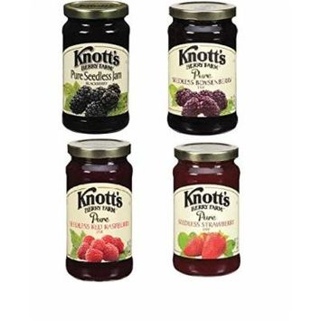 Knott's Berry Farm, Berry Bundle Pack (Boysenberry, Raspberry, Blackberry, Strawberry - 1 Each) Jams, 16oz Jars (Pack of 4 Jars Total)