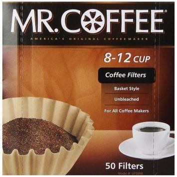 Mr. Coffee Basket Coffee Filters, 8-12 Cup, Natural Brown, 8-inch, 50-Count Boxes (Pack of 12)