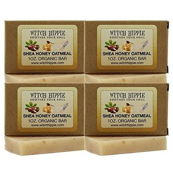 Shea Honey Oatmeal 1oz Organic Soap Bar by Witch Hippie-4 Pack