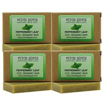 Peppermint Leaf 1oz Organic Bar Soap By Witch Hippie-4 pack