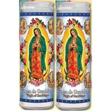 Set of 2 Our Lady of Guadalupe Prayer Candles 2 Veladoras De Nuestra Senora De Guadalupe