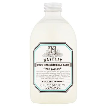Mayfair Soap Foundry Sea Lily Jasmine Body Wash Bubble Bath, 16 fl oz