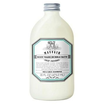 Mayfair Soap Foundry sea lily jasmine body wash/bubble bath 16 oz