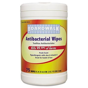 Boardwalkamp;reg; - Antibacterial Wipes, 8 x 5 2/5, Fresh Scent, 75 per Canister, 6 per Carton - Sold As 1 Carton - Kills99.9% of germs.