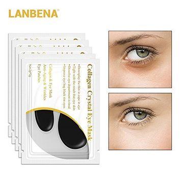 24K Gold Collagen Eye Mask Sheet Eye Patches Eye Pads Dark Circle Puffiness Eye Bag Anti-Aging Wrinkle Firming Moisturizing Skin (Black,10 Pcs)