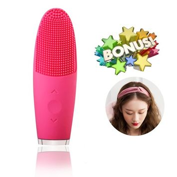 Small Sonic Facial Brush, Silicone Facial Cleansing Brush Anti Aaging Rechargeable Waterproof Organic Face Brush with 1pcs Elastic Suede Women Headband Valentines Day Gift …