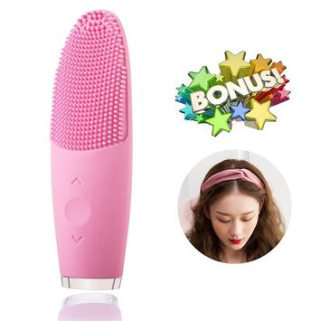 Facial Brush - Mini Sonic Facial Brush Silicone Electric Facial Brush Cleaner Waterproof Skin Cleanser Anti-Aging Vibrating USB Charging Facial Cleaning System, 1pcs Headband Gift, Pink