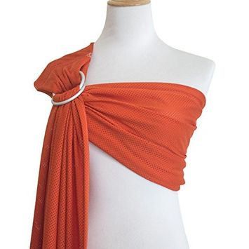 Vlokup Baby Water Ring Sling Carrier | Mesh Baby Wrap for Newborn Girl, Boy, Infant, Toddlers, and Kids | Lightweight Breathable, Perfect for Summer, Swimming, Pool, Beach | Great for Dad, Orange