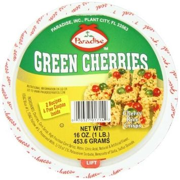 Paradise Cherries Whole, Green, 16 Ounce [Green Cherries Whole]