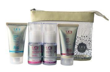 Uniorganics Certified Organic Skin Care Set Facial Cleanser Exfoliating Face Scrub - Anti-Aging Moisturizer Face Cream Travel Size with Instant Lift Eye Cream 15ml by Uni Organics