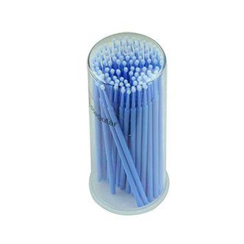 FTXJ 100pcs Micro Disposable Brushes For Eyelash Extension Individual Applicators Mascara [Blue]