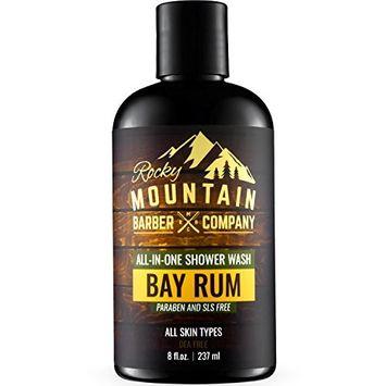 All-in-One Body Wash for Men – Shampoo, Body Wash Gel, Conditioner, Face Soap & Beard Wash – Includes Aloe Vera – Paraben, SLS & DEA Free - Bay Rum Scent – 8 oz