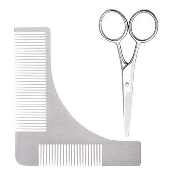 Beard Shaping Tool and Scissors Kit, Stainless Steel Shaper and Styling Template Comb for Beard Trimming and Grooming by Garrelett