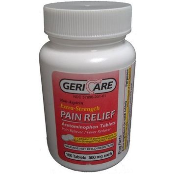 GeriCare Extra-Strength Non-Aspirin Pain Relief Acetaminophen Tablets Pain Reliever / Fever Reducer 500 mg, 100 Tablets