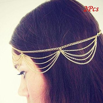 Iebeauty?2 pcsWomen Fashion Metal Head Chain Jewelry Headband Head Piece Hair band (GOLD) by Iebeauty