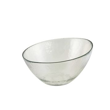 10 T Hammered Glass Angled Bowl/Case Of 8