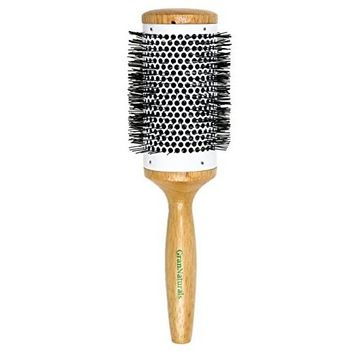 Round Blow Dryer Brush - Ceramic Barrel - Large 2.3 Inch Round Brush for Blow Drying - Thermal & Ionic Roll Styling Hairbrush to Blow Dry - Natural Wooden with Nylon Bristles - Hair Brush For Women