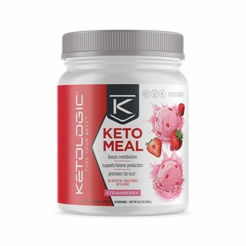 Ketologic Keto Meal Replacement MCT Shake – Promotes Weight Loss/Suppresses Appetite/Low Carb – Strawberry, 20 Servings [Strawberry]