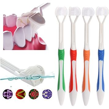 SYlive 4 pcs Adult Manual Toothbrushes, Sided Toothbrush Ultrafine Soft Bristle Adult Tooth Brush For Health Teeth