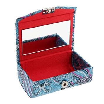 Homyl Fashion Portable Double Lipstick Holder, Retro Chinese National Costume Pattern, Premium Embroidery Brocade Box with Mirror- 12 Colors Choose - Sky Blue