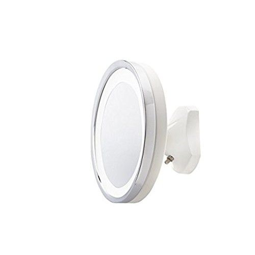 Jerdon HL95WL 5X LED Lighted Wall Mount Mirror, Direct Wire